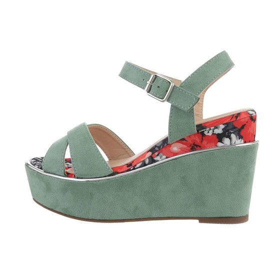 Pastel groene hoge sandaal met sleehak Alberta.