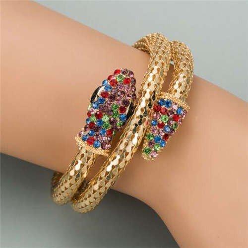 Fashion gouden snake armband met rainbow strass.