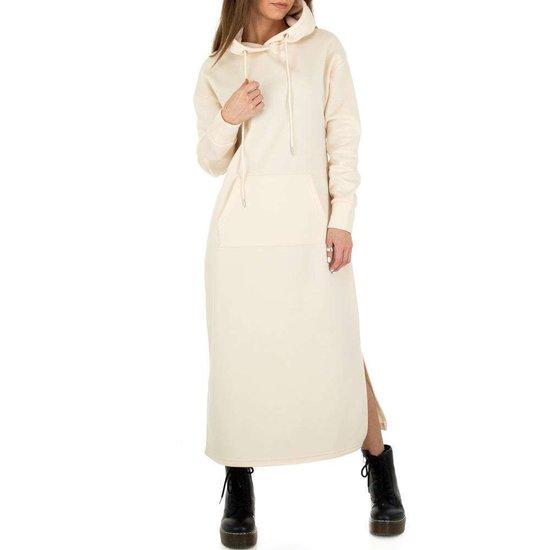 Trendy beige maxi jurk-sweater in sweat stof.
