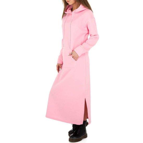 Trendy rose maxi jurk-sweater in sweat stof.