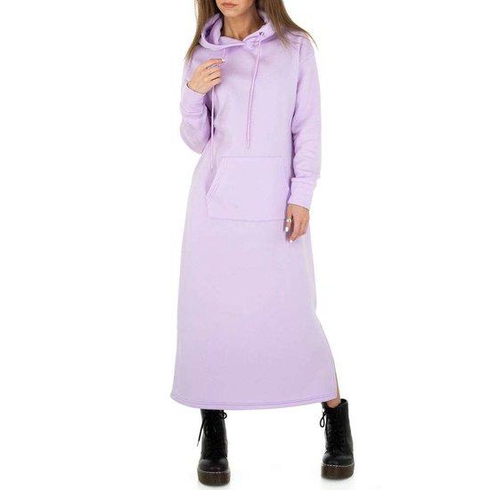 Trendy purperen maxi jurk-sweater in sweat stof.