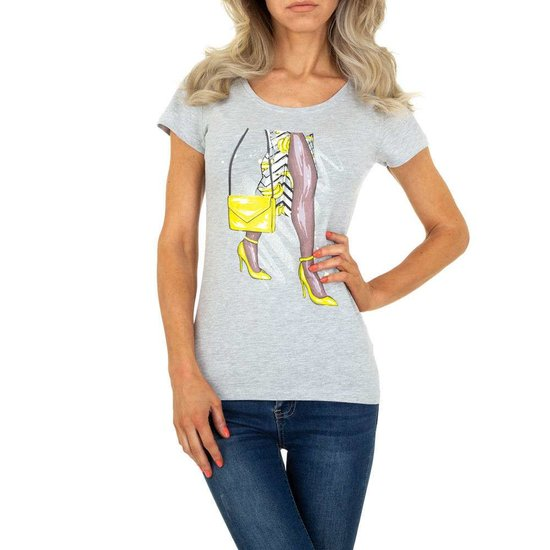 Trendy grijze T-shirt met fashion motief.