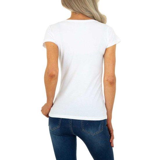 Trendy witte T-shirt met fashion motief.
