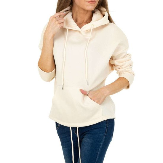 Trendy beige sweater/hoodie in sweatstof.
