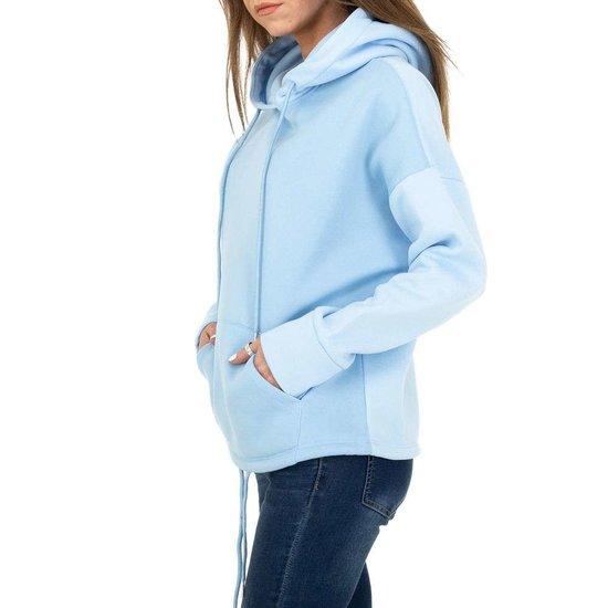 Trendy blauwe sweater/hoodie in sweatstof.