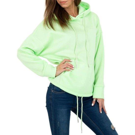 Trendy groene sweater/hoodie in sweatstof.