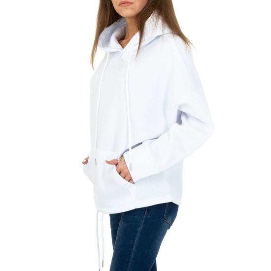 Trendy witte sweater/hoodie in sweatstof.