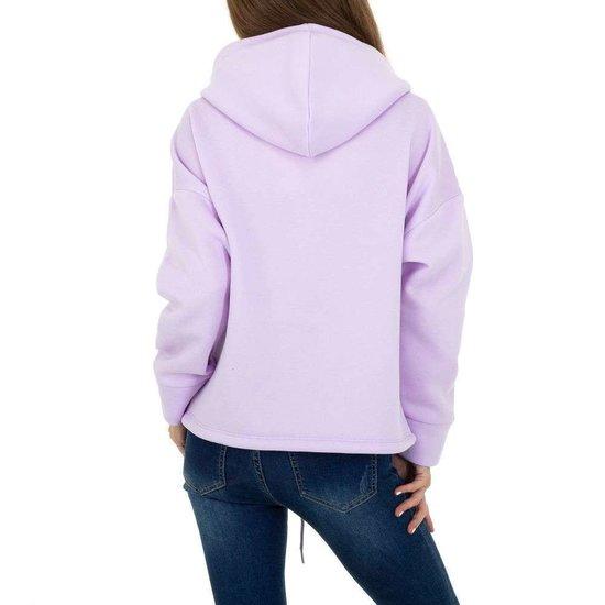 Trendy lila sweater/hoodie in sweatstof.