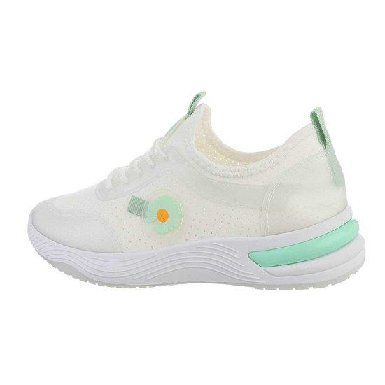 Trendy lage wit/groene sneaker Stacey.