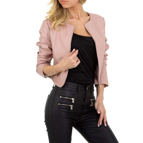 Stylishe korte rose leatherlook jacket.