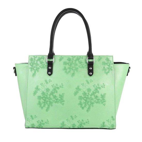 Trendy groene shopperbag met decoratie.