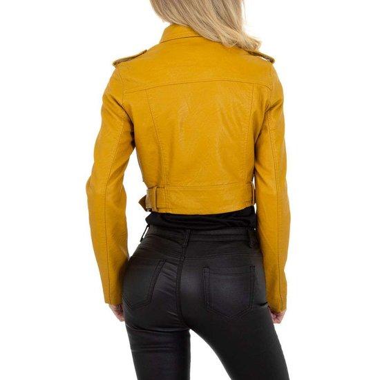 Stylishe korte gele leatherlook biker jacket.