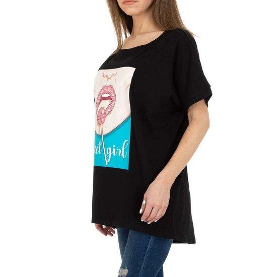 Trendy zwarte T-shirt met opschrift SWEET GIRL.