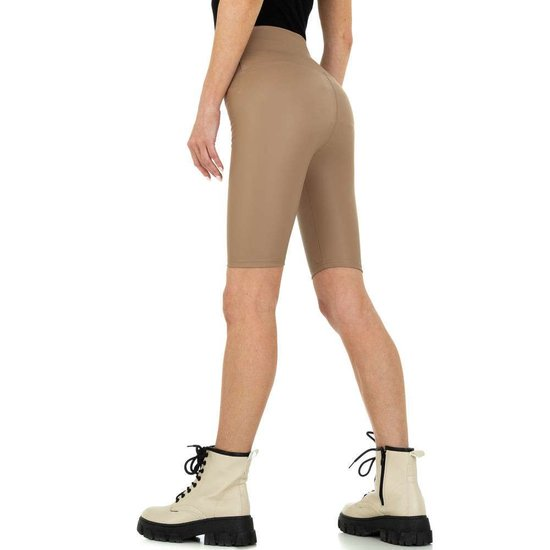 Taupe leather look short.