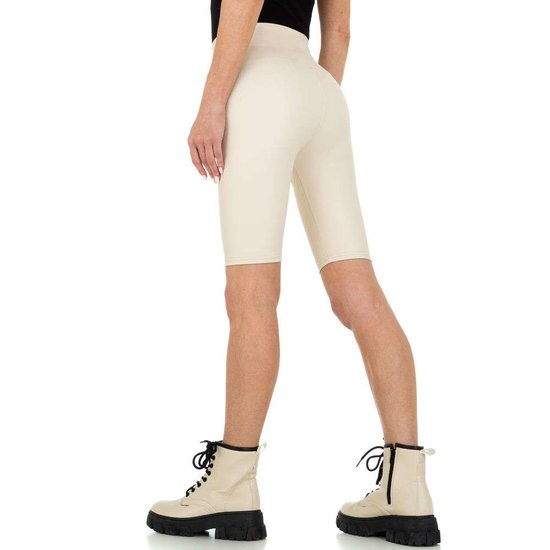 Cream leather look short.