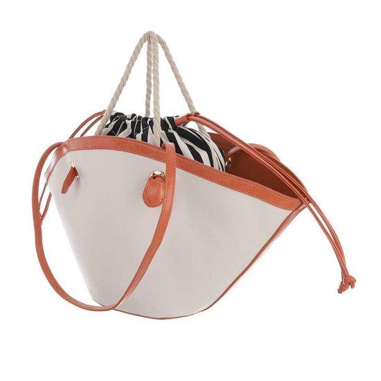 Trendy beige shopperbag met contrast kleur.