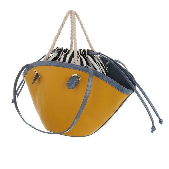 Trendy gele shopperbag met contrast kleur.