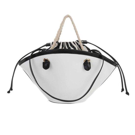Trendy witte shopperbag met contrast kleur.