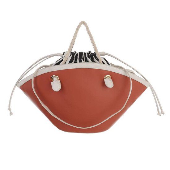 Trendy steen rode shopperbag met contrast kleur.