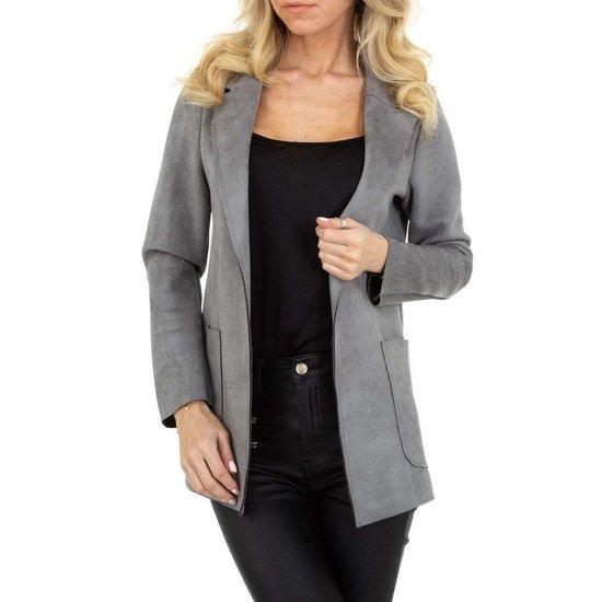 Classy grijze blazer in daim.