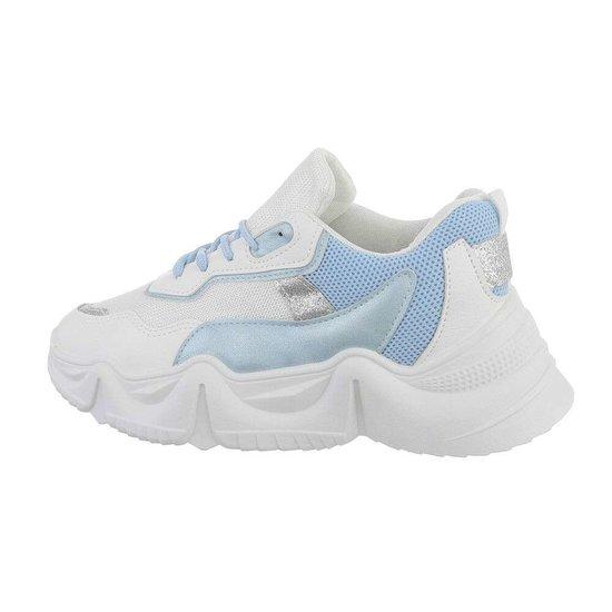 Sportieve lage witte-blauwe sneaker Lanza.