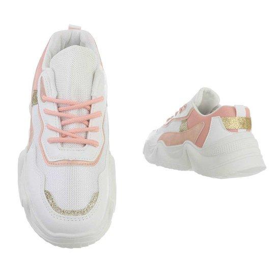 Sportieve lage witte-rose sneaker Lanza.