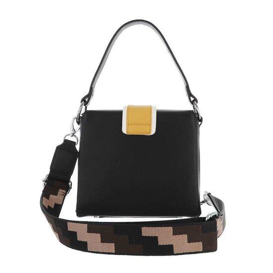 Trendy zwarte vierkante schoudertas.