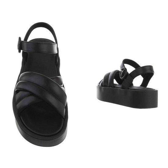 Zwarte platform sandaal Juliette.