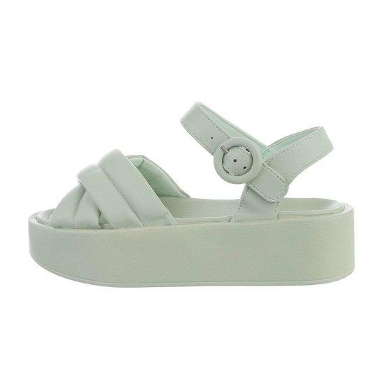 Groene platform sandaal Juliette.