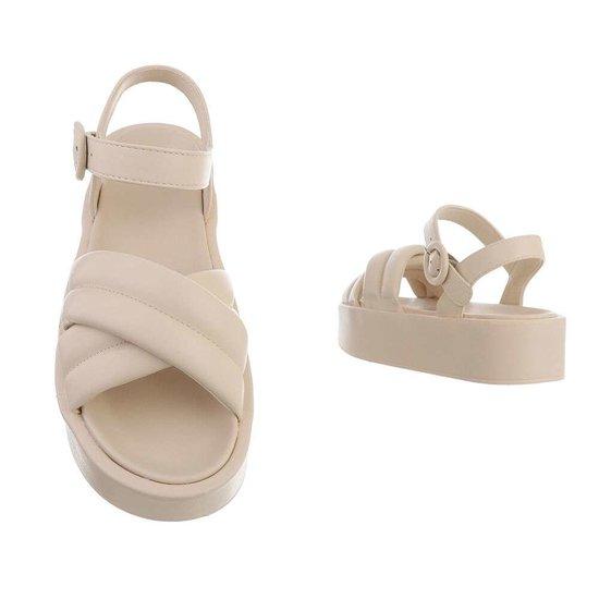 Beige platform sandaal Juliette.