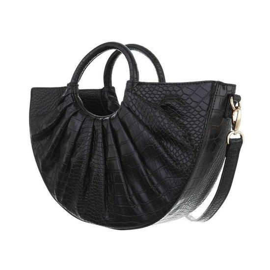 Zwarte vintage schouder/handtas in crocoprint.