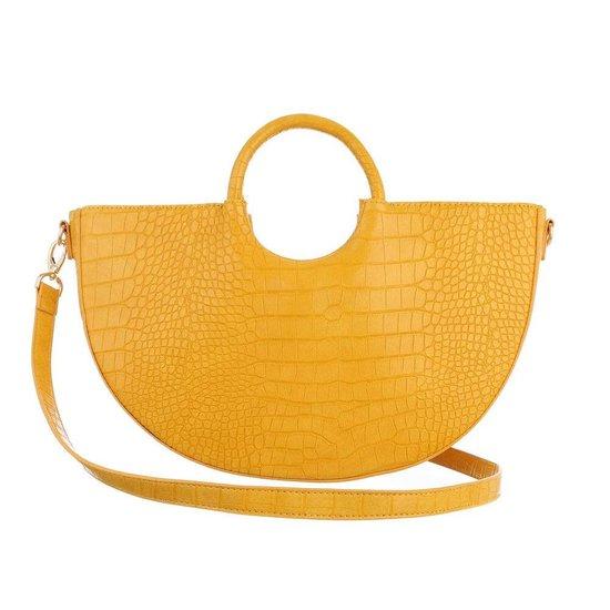 Gele vintage schouder/handtas in crocoprint.