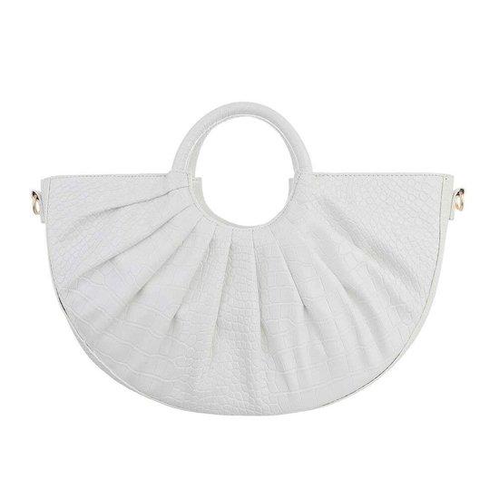 Witte vintage schouder/handtas in crocoprint.