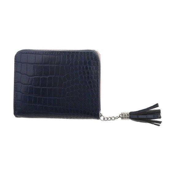 Kleine blauwe portemonnee.