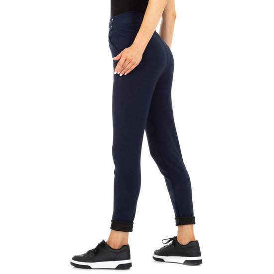 Trendy donker blauwe chinobroek met stretch.