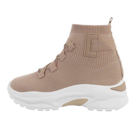 Trendy hoge beige textiel sneaker Aicha.