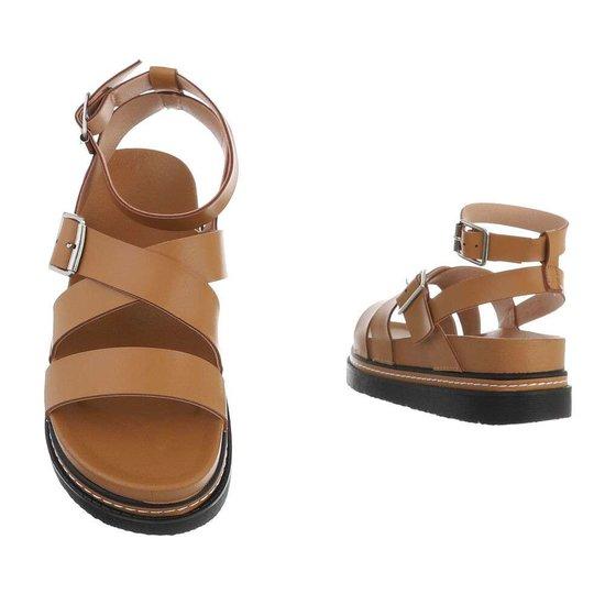 Camel platform sandaal Nisa.