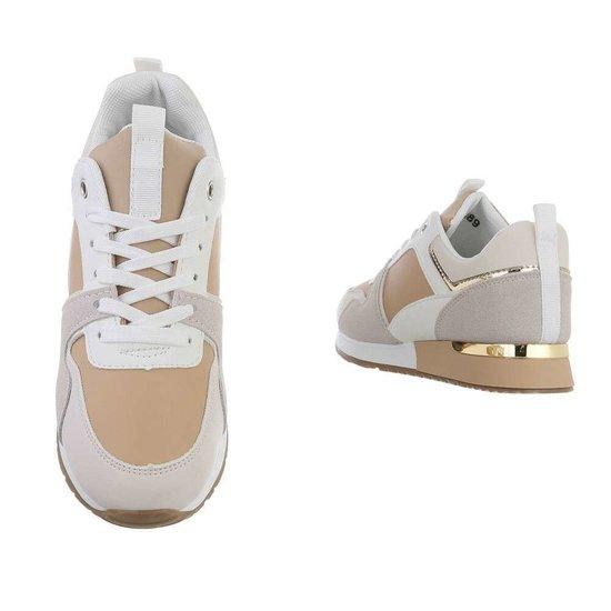 Beige multicolor lage sneaker Kesley.