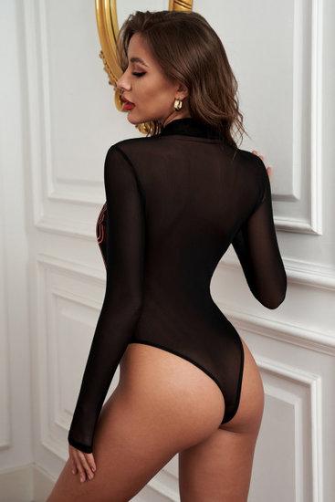 Zwarte bodysuit met lijnenspel.