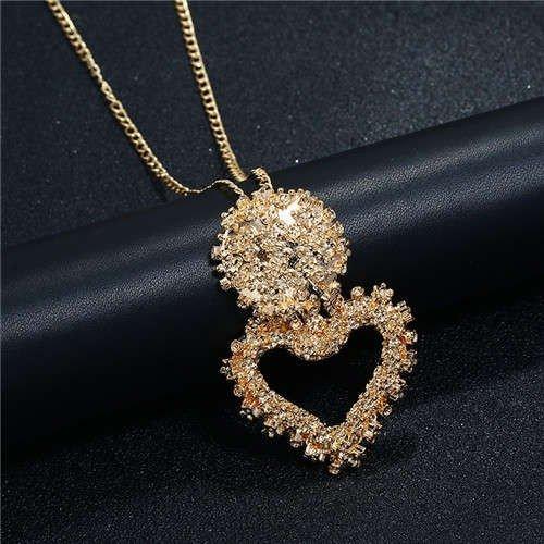 Gouden-zilveren halsketting met bol+hart.