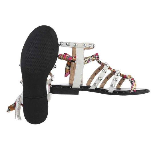 Witte lage sandaal Dara.