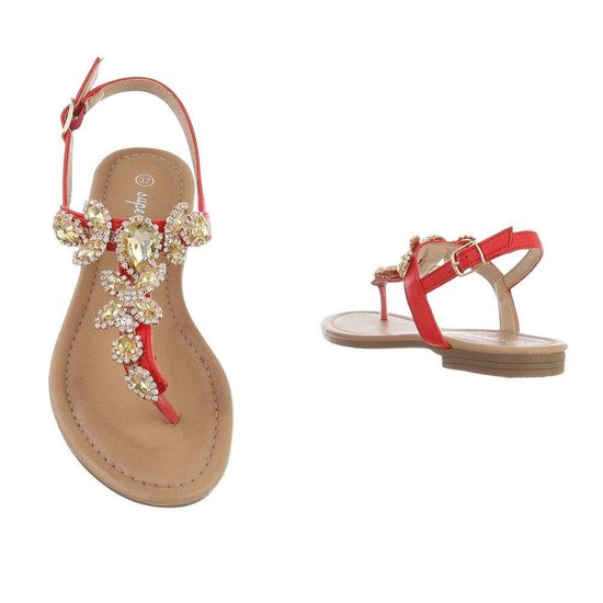 Rode lage sandaal Taffy.