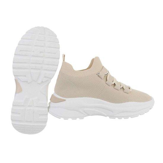 Trendy lage beige textiel sneaker Reza.