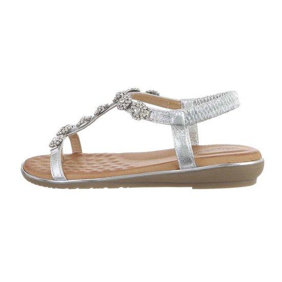 Zilveren lage sandaal Amy.