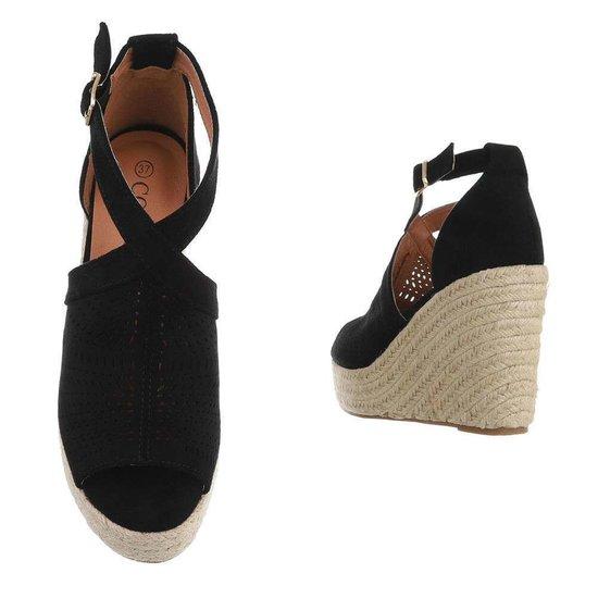 Zwarte hoge sandaal met sleehak Krista.