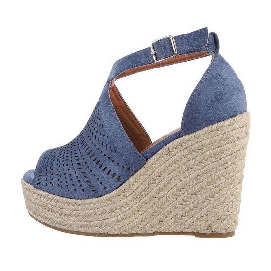 Blauwe hoge sandaal met sleehak Krista.