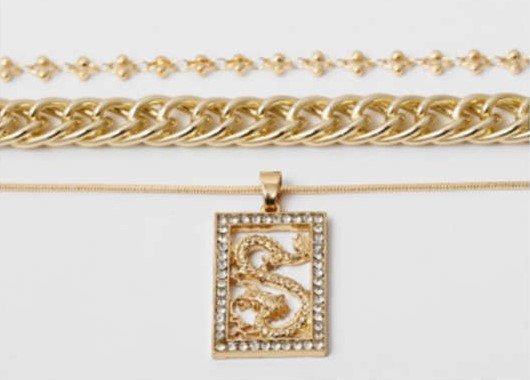 Gouden triple halsketting.