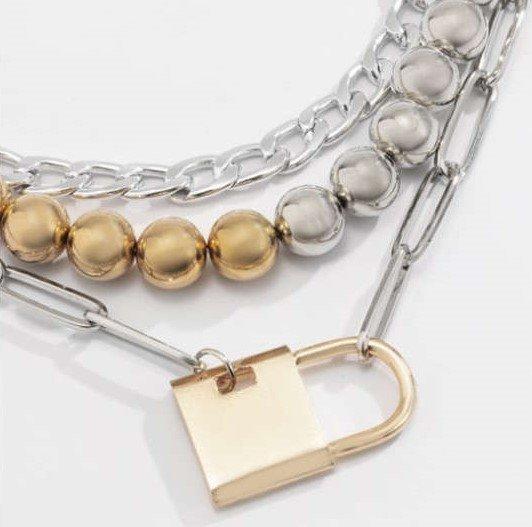 Goud-zilveren triple mix halsketting.