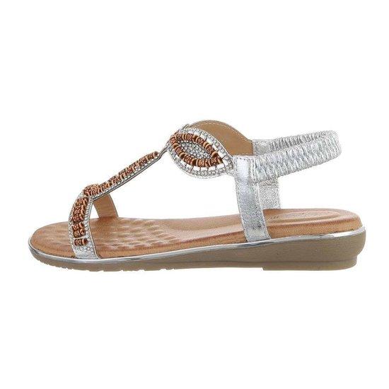 Zilveren lage sandaal Geri.