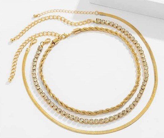 3 lagige gouden-zilveren combo halsketting.